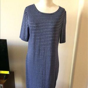 LuLaRoe Julia Navy Stripe Dress Sz M $45